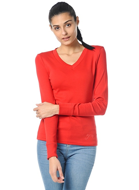 Grip V Yaka Sweatshirt Kırmızı